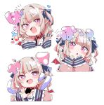 absurdres background_text bangs blue_ribbon censored chibi choker collar commentary_request demon_wings eyebrows eyebrows_visible_through_hair fang grey_hair hair_ornament hair_ribbon head_tilt heart heart-shaped_pupils highres kio_(yumekuikio) leather_choker leather_collar long_sleeves makaino_ririmu multicolored_hair nijisanji pink_eyes pointy_ears red_wings redhead ribbon simple_background skin_fang streaked_hair symbol-shaped_pupils translation_request virtual_youtuber white_background wings
