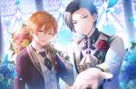 2boys animal_on_shoulder aoyagi_touya bird bird_on_shoulder blue_flower blue_hair blue_rose earrings flower formal hand_up jewelry looking_at_viewer multicolored_hair multiple_boys necktie offtoon12 open_mouth orange_hair project_sekai rose shinonome_akito short_hair smile suit