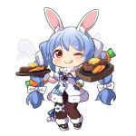 1girl ;q ame. animal_ear_fluff animal_ears bangs black_gloves black_leotard blue_hair bow braid brown_legwear bunny-shaped_pupils carrot_hair_ornament closed_mouth commentary_request detached_sleeves don-chan_(usada_pekora) dress eyebrows_visible_through_hair food food-themed_hair_ornament full_body fur-trimmed_dress fur-trimmed_gloves fur_trim gloves hair_bow hair_ornament highres holding hololive leotard long_hair multicolored_hair one_eye_closed pantyhose puffy_short_sleeves puffy_sleeves rabbit_ears shoes short_eyebrows short_sleeves simple_background smile smoke standing strapless strapless_dress strapless_leotard thick_eyebrows tongue tongue_out twin_braids twintails two-tone_hair usada_pekora very_long_hair white_background white_bow white_dress white_footwear white_hair white_sleeves
