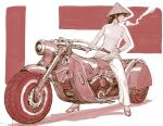1girl brown_hair chinese_clothes cigarette commentary english_commentary ground_vehicle hat high_heels long_hair long_sleeves monochrome motor_vehicle motorcycle mouth_hold original pants profile red_theme rice_hat shirt smoke smoking solo y_naf