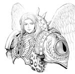 1boy angel angel_wings armor breastplate closed_mouth commentary english_commentary greyscale highres laurel_crown long_hair looking_at_viewer male_focus monochrome pauldrons primarch sanguinius shoulder_armor simple_background smile solo upper_body warhammer_40k white_background wings y_naf