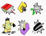 1other apios1 arm_up colored_pencils_(paper_mario) commentary_request full_body grey_background hand_on_hip hole_punch_(paper_mario) hole_puncher mario_(series) outstretched_arm paper_mario pencil rubber_band_(paper_mario) scissors scissors_(paper_mario) simple_background standing staple stapler stapler_(paper_mario) stationery tape tape_(paper_mario)