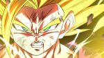1boy angry aura battle_damage blonde_hair blood blood_from_mouth blood_on_face clenched_teeth dougi dragon_ball dragon_ball_z electricity green_eyes looking_at_viewer male_focus rom_(20) solo son_gohan spiky_hair super_saiyan super_saiyan_2 teeth torn_clothes upper_body