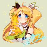 1girl ahoge blonde_hair blue_eyes blush breasts character_name closz commentary dress english_commentary eyebrows_visible_through_hair fingerless_gloves gloves happy_birthday holding holding_stuffed_toy large_breasts long_hair looking_at_viewer nijisanji nijisanji_id sleeveless sleeveless_dress smile solo stuffed_corn stuffed_toy twintails virtual_youtuber zea_cornelia