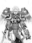 1girl adepta_sororitas armor belt belt_pouch bolter boobplate breastplate clenched_teeth commentary dual_wielding english_commentary explosive facial_mark finger_on_trigger fleur_de_lis gauntlets grenade greyscale gun hatching_(texture) heterochromia highres holding holding_gun holding_sword holding_weapon lipstick looking_at_viewer makeup making-of_available mechanical_wings medium_hair monochrome pants pauldrons pelvic_curtain pouch scar scar_across_eye shoulder_armor skull solo standing sword teeth walking warhammer_40k weapon wide-eyed wings y_naf