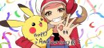 0_0box 1girl anniversary blue_overalls blush bow brown_eyes brown_hair cabbie_hat gen_1_pokemon hat looking_at_viewer lyra_(pokemon) ok_sign pikachu pokemon pokemon_(creature) pokemon_(game) pokemon_hgss red_bow red_shirt shirt smile teeth twintails white_headwear
