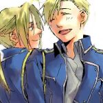 2boys aiguillette alphonse_elric amestris_military_uniform arms_at_sides backlighting bangs blonde_hair blue_jacket brothers close-up closed_eyes closed_mouth collared_shirt dress_shirt edward_elric face facing_another facing_viewer fullmetal_alchemist half-closed_eyes happy jacket laughing light_blush light_smile looking_at_another lowres male_focus military military_jacket military_uniform multiple_boys noako open_clothes open_jacket parted_bangs parted_lips ponytail profile shirt siblings side-by-side simple_background smile swept_bangs uniform upper_body white_background