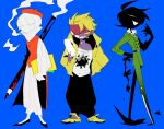 3boys ^_^ absurdres ahoge apios1 arm_behind_back baggy_pants bangs belt beret black_footwear black_hair black_nails black_pants black_skin blonde_hair blue_background bob_cut buttons cape cigarette closed_eyes coat collared_shirt colored_pencils_(paper_mario) colored_sclera colored_skin commentary_request constricted_pupils earrings frilled_shirt frilled_shirt_collar frilled_sleeves frills full_body green_coat green_pants half-closed_eyes hand_up happy hat headband high_collar highres holding holding_paper holding_pencil hole_punch_(paper_mario) hood hoodie jacket jewelry long_sleeves looking_at_viewer looking_to_the_side male_focus mario_(series) mouth_hold multiple_boys nail_polish one_eye_covered open_clothes open_jacket open_mouth oversized_object pants paper paper_chain paper_mario pencil personification purple_skin red_cape red_eyes red_headband red_headwear red_vest sandals scissors_(paper_mario) sharp_teeth shirt shoes short_hair simple_background sketch smile smoke smoking standing stud_earrings teeth vest white_pants white_shirt yellow_eyes yellow_footwear yellow_hoodie yellow_jacket yellow_sclera