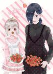 2girls :d absurdres apron bangs black_dress black_hair blush commentary_request dated dress food fruit grey_hair hair_over_one_eye highres kaneki_ichika kirishima_touka layered_dress long_sleeves looking_down low_twintails mother_and_daughter multiple_girls open_mouth pink_dress polka_dot polka_dot_dress short_hair smile strawberry striped striped_background tokyo_ghoul tokyo_ghoul:re toukaairab translation_request twintails white_apron white_background