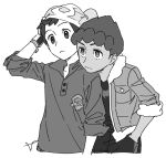 2boys beanie black_shirt bright_pupils cable_knit closed_mouth commentary_request dark-skinned_male dark_skin dynamax_band frown fur-trimmed_jacket fur_trim greyscale hand_in_pocket hand_up hat hop_(pokemon) jacket male_focus monochrome multiple_boys open_clothes open_jacket pokemon pokemon_(game) pokemon_swsh sankaku shirt short_hair simple_background sleeves_rolled_up split_mouth victor_(pokemon) white_background white_pupils