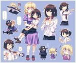 """! !? ... 2girls ? anger_vein belt black_headwear black_skirt blush bow brown_footwear brown_hair bull buttons capelet chibi child closed_eyes collared_dress collared_shirt commentary cup dateless_bar_""""old_adam"""" dress dress_shirt drinking_glass eyebrows_visible_through_hair fedora flower frown ghostly_field_club glasses grin hair_bow hair_flower hair_ornament hairband hands_up hat hat_bow holding holding_cup holding_flower horns long_hair long_sleeves looking_at_viewer looking_to_the_side maribel_hearn medium_hair messy_hair multicolored multicolored_eyes multiple_girls necktie on_floor open_mouth pulled_by_another pulling purple_dress purple_flower re_ghotion red_bow red_footwear red_neckwear shirt short_hair short_sleeves shot_glass sitting sitting_on_lap sitting_on_person skirt smile socks speech_bubble spoken_anger_vein spoken_ellipsis spoken_exclamation_mark spoken_question_mark spoken_sweatdrop sweatdrop tail teeth thinking touhou usami_renko violet_eyes white_bow white_hairband white_legwear yellow_eyes younger"""