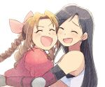 2girls aerith_gainsborough bangs black_hair bracer braid braided_ponytail brown_hair cheek-to-cheek closed_eyes colored_pencil_(medium) commentary_request cropped_jacket drill_hair drill_locks earrings elbow_pads final_fantasy final_fantasy_vii hair_ribbon heads_together hug jacket jewelry laughing long_hair multiple_girls open_mouth parted_bangs pink_ribbon puffy_short_sleeves puffy_sleeves red_jacket ribbon shirt short_sleeves simple_background single_braid smile straight_hair swept_bangs tifa_lockhart traditional_media tsubobot white_background white_shirt yuri