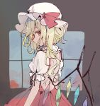 1girl blonde_hair commentary_request crystal dress flandre_scarlet grey_background hat long_hair looking_at_viewer mob_cap mozukuzu_(manukedori) one_side_up red_dress red_eyes red_ribbon ribbon shirt short_sleeves solo touhou upper_body white_headwear white_shirt wings