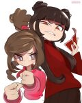 2girls annoyed artist_name avatar:_the_last_airbender avatar_(series) bangs braid braided_ponytail brown_eyes card clenched_hands double_bun grey_eyes highres holding holding_card mai_(avatar) multiple_girls onionsketch parted_lips pink_sweater red_sweater smile sweater ty_lee v-shaped_eyebrows