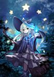 1girl :d bangs black_headwear blonde_hair bow braid broom chii_(tsumami_tsumamare) eyebrows_visible_through_hair forest full_body hat hat_bow holding holding_broom jewelry kirisame_marisa long_hair long_sleeves looking_at_viewer nature necklace night open_mouth outdoors side_braid single_braid sky smile solo standing star_(sky) star_(symbol) starry_sky touhou white_bow wide_sleeves witch witch_hat yellow_eyes