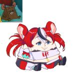 1girl absurdres animal_ears blue_eyes closed_mouth clothes_writing english_commentary even_vast eyebrows_visible_through_hair hakos_baelz highres hololive hololive_english key_necklace mouse_ears multicolored_hair reference_inset simple_background sitting tom_and_jerry virtual_youtuber white_background