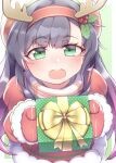 1girl bangs black_hair blush box dress eyebrows_visible_through_hair fake_antlers freckles fur_trim gift gift_box gradient_hair green_background green_eyes hair_between_eyes hair_ornament hairband hat highres holding holding_gift holly_hair_ornament kantai_collection long_hair long_sleeves matsuwa_(kancolle) mittens multicolored_hair namaata official_alternate_costume open_mouth purple_hair red_dress red_hairband red_mittens simple_background solo upper_teeth