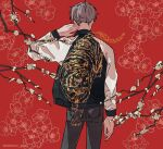 1boy absurdres black_jacket black_pants branch commentary_request cowboy_shot floral_background flower from_behind grey_hair hand_up highres jacket kankara_nashi long_sleeves male_focus multicolored multicolored_clothes multicolored_jacket original pants red_background short_hair solo sukajan tiger twitter_username two-tone_jacket white_flower white_jacket