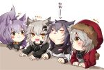4girls :< :3 animal_ear_fluff animal_ears arknights black_coat black_gloves black_hair blush closed_mouth coat commentary_request eyebrows_visible_through_hair fang fur-trimmed_hood fur_trim gloves grey_hair hair_between_eyes hair_ornament hairclip hood lappland_(arknights) long_sleeves mirui multiple_girls open_mouth projekt_red_(arknights) provence_(arknights) purple_hair red_coat red_hood scar scar_across_eye tail texas_(arknights) translation_request white_hair yellow_eyes