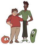 belt bob_the_tomato brown_hair dark_green_pants green_shirt green_shoes human larry_the_cucumber long_sleeves pants red_shirt red_sweater shirt veggietales