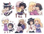 ... 2girls :d ? animal_ears arm_grab bangs black_footwear black_headwear black_skirt blonde_hair blush bow brown_footwear brown_hair brown_neckwear chibi closed_eyes closed_mouth collared_dress collared_shirt commentary cuts dirty dirty_clothes doll dress dress_shirt eyebrows_visible_through_hair fedora frilled_dress frills frown hair_bow hand_on_another's_head hand_on_another's_waist hands_on_another's_face hat hat_bow heart holding holding_another holding_knife injury knife long_hair looking_at_another looking_to_the_side maribel_hearn medium_hair messy_hair mob_cap multiple_girls necktie on_floor open_mouth purple_dress re_ghotion red_bow red_neckwear scratches shirt short_sleeves sitting sitting_on_bench skirt smile spoken_ellipsis spoken_heart spoken_question_mark spoken_sweatdrop striped striped_neckwear sweatdrop tail tail_wagging tears teeth touhou usami_renko white_bow white_shirt wolf_ears wolf_tail yuri