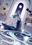 1girl aqua_eyes aqua_hair arch black_ribbon blue_dress book book_stack bouquet chain crescent crescent_earrings cross cross_necklace cup dress earrings flower gold_chain green_nails gyroscope hair_ornament hair_ribbon hatsune_miku high_heels highres jewelry jupiter_(planet) long_hair looking_at_viewer moon moon_(ornament) mug nail_polish necklace nishina_hima on_floor planet ribbon rose sitting sky snow_globe solo stairs star_(sky) star_(symbol) starry_sky telescope twintails very_long_hair vocaloid window
