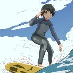 1girl alternate_costume anatamo androgynous artist_name black_hair black_wetsuit blue_sky bodysuit brown_eyes clouds commentary_request dated day kantai_collection mogami_(kancolle) one-hour_drawing_challenge outdoors short_hair sky solo surfing twitter_username wetsuit