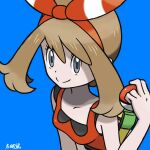 1girl bangs blue_background bow brown_hair closed_mouth fanny_pack grey_eyes hair_bow highres holding holding_poke_ball may_(pokemon) medium_hair poke_ball pokemon pokemon_(game) pokemon_oras red_shirt shirt sleeveless sleeveless_shirt smile striped striped_bow yamane_(viq4201)