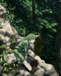 1girl bangs box brown_footwear closed_mouth commentary_request forest full_body gourd green_eyes green_hair green_shirt green_skirt kajatony looking_afar medium_hair moss nature plant rock shirt shoes skirt sleeves_rolled_up solo touhou tree yamashiro_takane