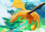 above_clouds blue_eyes charizard claws closed_mouth commentary_request day fire flame flying gen_1_pokemon no_humans outdoors pokemon pokemon_(creature) river smile solo uninori