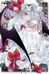 1girl bangs bat_wings black_background blue_hair bobby_socks bow closed_mouth commentary_request commission dress fingernails floral_background flower footwear_bow full_body hat hat_ribbon highres katai_(nekoneko0720) knees_up long_fingernails long_hair looking_at_viewer mob_cap one_eye_closed orchid red_bow red_eyes red_footwear red_nails red_ribbon remilia_scarlet ribbon shoes short_sleeves skeb_commission slit_pupils smile socks solo touhou white_dress white_headwear white_legwear wings