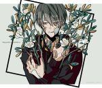 1boy bandage_on_face bandaged_hands bandages bandaid bandaid_on_face bandaid_on_hand black_hoodie branch closed_mouth commentary_request eyebrows_visible_through_hair flower grey_background grey_eyes grey_hair half-closed_eyes hands_on_own_chest hands_up highres hood hood_down hoodie kankara_nashi leaf male_focus original short_hair solo square twitter_username upper_body white_flower