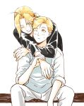 2boys :< ahoge alphonse_elric arms_around_neck bangs bent_over between_legs black_shirt blonde_hair brothers closed_mouth edward_elric elbow_on_knee feet_out_of_frame fingernails fullmetal_alchemist hand_between_legs hand_on_another's_shoulder hand_up heads_together hug hug_from_behind light_blush light_smile long_sleeves looking_at_another looking_back looking_down looking_to_the_side male_focus multiple_boys one_eye_closed pai_(1111) pants parted_bangs parted_lips shiny shiny_hair shirt siblings simple_background sitting sleeves_rolled_up spread_legs sweatdrop swept_bangs tareme white_background white_pants white_shirt wrist_grab yellow_eyes