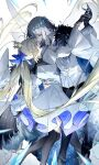 1boy 1girl artoria_pendragon_(caster)_(fate) artoria_pendragon_(fate) black_cape black_gloves black_legwear black_pants blonde_hair blue_bow blue_eyes bow bracelet buttons cape claws closed_eyes commentary couple crown dancing diamond_hairband dress fate/grand_order fate_(series) feet_out_of_frame fur_cape gloves grey_hair hair_bow hand_on_another's_waist hetero highres insect_wings jewelry kamiowl kneehighs long_hair long_sleeves looking_at_another looking_down mini_crown oberon_(fate) pants puffy_sleeves shirt short_hair spoilers symbol-only_commentary twintails white_dress white_shirt wings