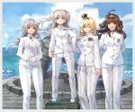ahoge blonde_hair blue_eyes blue_sky braid brown_hair buttons clouds conte_di_cavour_(kancolle) crown double_bun epaulettes french_braid gangut_(kancolle) grey_hair hairband highres himeyamato kantai_collection kongou_(kancolle) long_hair mini_crown monument multiple_girls ocean one_eye_closed red_eyes ribbon sky twintails warspite_(kancolle) waves white_footwear white_uniform