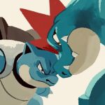 blastoise brown_eyes claws closed_mouth commentary_request eye_contact fangs fangs_out feraligatr gen_1_pokemon gen_2_pokemon looking_at_another no_humans pokemon pokemon_(creature) simple_background uninori white_background
