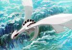 black_eyes commentary_request fang flying gen_2_pokemon legendary_pokemon lugia no_humans open_mouth pokemon pokemon_(creature) shiny signature solo uninori waves