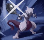 commentary_request full_body gen_1_pokemon glint highres holding holding_spoon legendary_pokemon looking_at_viewer mewtwo pokemon pokemon_(creature) solo spoon standing toes uninori violet_eyes