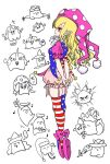 ... 1girl american_flag_dress american_flag_legwear arms_behind_back blonde_hair chen clownpiece doremy_sweet dragon_ball dragon_ball_z gaogaowaan gap_(touhou) garter_straps gohei hakurei_reimu hat jester_cap kirisame_marisa komano_aunn leg_ribbon long_hair matara_okina mob_cap musical_note nishida_satono pointy_ears polka_dot pom_pom_(clothes) puffy_short_sleeves puffy_sleeves red_eyes ribbon short_sleeves smile solo tate_eboshi teireida_mai toriyama_akira_(style) touhou yakumo_ran yakumo_yukari