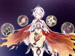 1girl armor bangs bare_shoulders boots cape closed_eyes closed_mouth company_connection crossover earrings galaxy gauntlets genshin_impact hair_between_eyes hair_ornament hands_together highres honkai_(series) honkai_impact_3rd jewelry kiana_kaslana kiana_kaslana_(herrscher_of_flamescion) mihoyo_technology_(shanghai)_co._ltd. parody ponytail praying shirt sleeveless solo star_(sky) sweetybir thigh-highs thigh_boots torn_cape torn_clothes white_footwear white_hair white_shirt