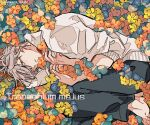 1boy barefoot black_pants blue_flower closed_mouth commentary_request fetal_position flower green_eyes grey_hair half-closed_eyes hands_on_own_chest kankara_nashi latin_text lying male_focus nasturtium on_side orange_flower original pants short_hair sleeves_rolled_up solo sweater twitter_username white_sweater yellow_flower