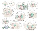 :< :d closed_eyes commentary_request cottonee doll fluffy gen_5_pokemon highres no_humans open_mouth pokemon pokemon_(creature) smile substitute_(pokemon) tongue uninori whimsicott