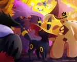 cacturne closed_mouth colored_sclera commentary_request gen_1_pokemon gen_2_pokemon gen_3_pokemon gen_4_pokemon gen_5_pokemon hat hatted_pokemon honchkrow mismagius pokemon pokemon_(creature) red_eyes signature smile standing toes umbreon uninori woobat yellow_eyes yellow_sclera zubat
