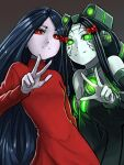 2girls alma_(f.e.a.r.) android black_dress black_hair black_sleeves blue_hair bow colored_sclera colored_skin crossover detached_sleeves dress expressionless f.e.a.r. glowing glowing_eyes green_eyes green_sclera green_skin hair_bow long_dress long_hair looking_at_viewer multiple_girls neon_trim pale_skin parted_hair personification red_bow red_dress red_eyes robot_ears s.h.o.d.a.n. smile substance20 system_shock turtleneck_dress v very_long_hair