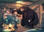 1girl 4boys amazou beard black_hair cake coat couch cousins dudley_dursley facial_hair father_and_son food harry_james_potter harry_potter harry_potter_and_the_philosopher's_stone lantern long_coat long_hair mother_and_son multiple_boys one_eye_closed petting petunia_dursley rubeus_hagrid scar_on_forehead short_hair vernon_dursley