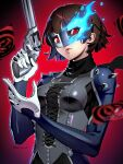 1girl armor black_scarf blue_fire brown_hair card closed_mouth datcravat eye_mask eyelashes fire flame gun highres holding holding_gun holding_weapon looking_at_viewer niijima_makoto persona persona_5 pink_lips red_eyes revolver scarf short_hair solo spikes twintails twitter_username weapon