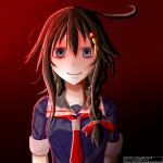 1girl blue_eyes brown_hair crazy_eyes gradient gradient_background horror_(theme) kantai_collection karafawa looking_at_viewer ponytail red_background red_neckwear shigure_(kancolle) smile upper_body what yandere