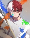 1boy bangs boku_no_hero_academia burn_scar closed_mouth commentary expressionless grey_background grey_eyes hair_between_eyes heterochromia highres looking_at_viewer male_focus multicolored_hair noizu_(noi_hr) paint red_eyes redhead scar shirt short_hair short_sleeves smile symbol-only_commentary todoroki_shouto two-tone_hair upper_body white_hair white_shirt