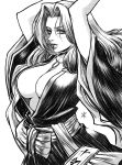 apoloniodraws arms_up bleach breasts greyscale highres japanese_clothes long_hair looking_at_viewer matsumoto_rangiku monochrome staring
