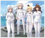 4girls ahoge alternate_costume blonde_hair blue_eyes blue_sky braid brown_eyes brown_hair buttons clouds conte_di_cavour_(kancolle) crown double_bun epaulettes french_braid gangut_(kancolle) grey_hair hairband highres himeyamato kantai_collection kongou_(kancolle) long_hair mini_crown monument multiple_girls ocean one_eye_closed red_eyes ribbon sky twintails violet_eyes warspite_(kancolle) waves white_footwear white_uniform
